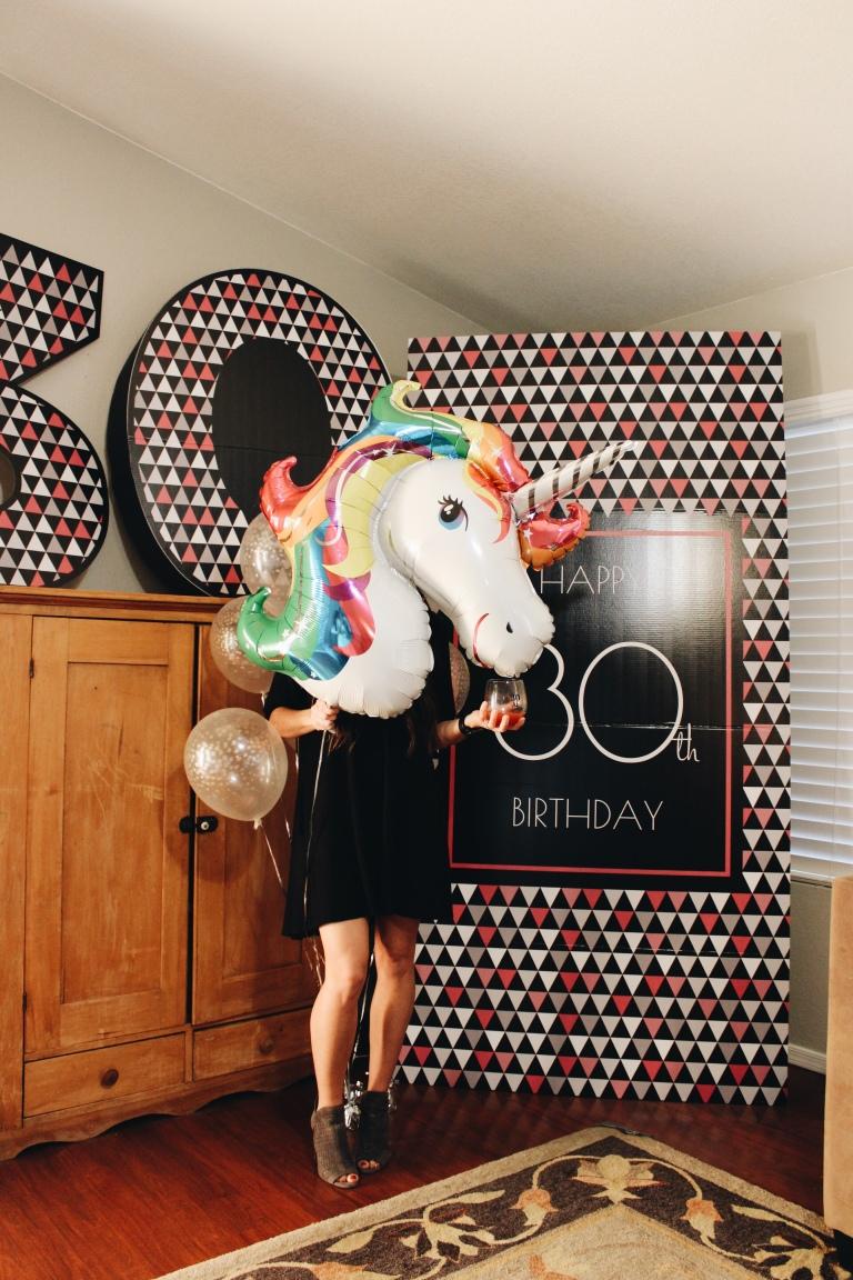 Unicorn birthday party, 30th birthday party, dirty thirty, Jenna Abbadessa, unicorn party