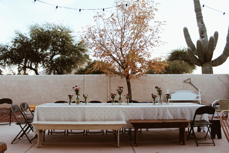 Jenna Abbadessa 30th birthday party vintage decor outdoor dinner